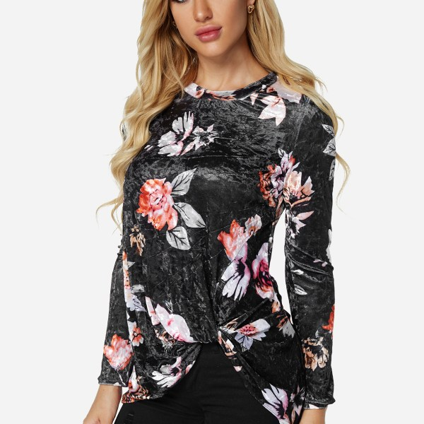 Black Crossed Front Design Plain Round Neck Long Sleeves Floral Velvet T-shirts 2