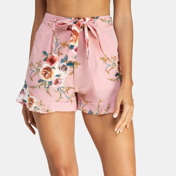 Pink Random Floral Print Self-tie Design Shorts 2