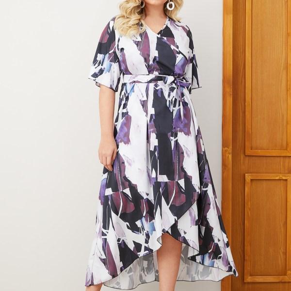 Plus Size Belt Design Print V-neck Slit Design Dress 2
