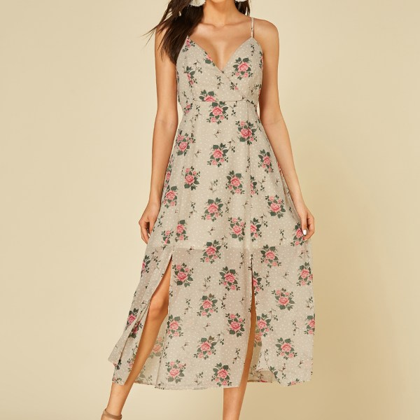 YOINS Apricot Adjustable Shoulder Straps Floral Print Deep V Neck Dress 2