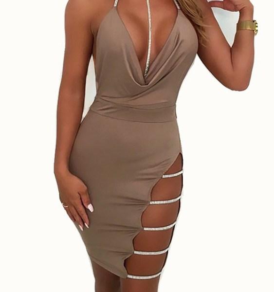 Backless Slit Design Rhinestone Halter Sleeveless Dress 2