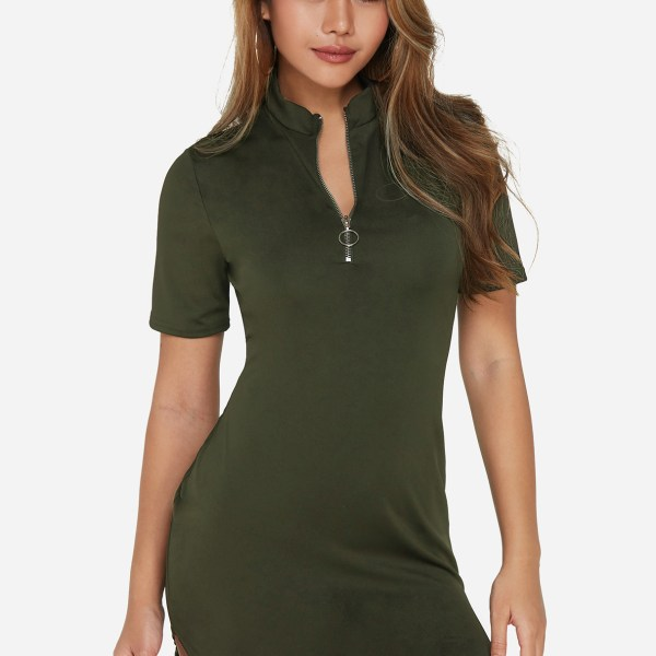 Army Green Zip Front Curved Hem Mini Dresses 2