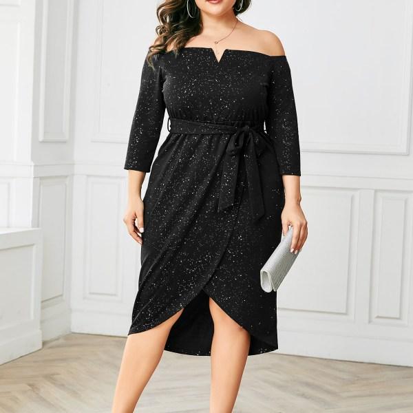 YOINS Plus Size Black Glitter Off The Shoulder Dress 2