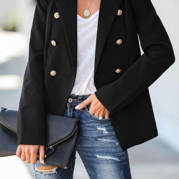 Button Design Lapel Collar Coat 2