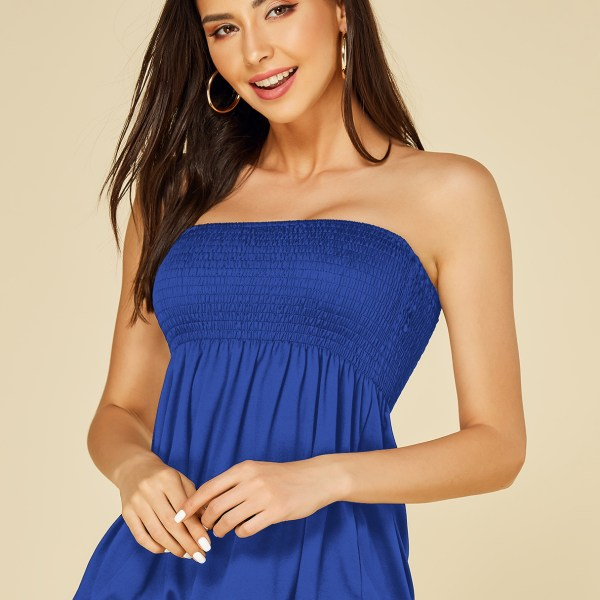 Blue Smocking Design Shirred Strapless Camis 2