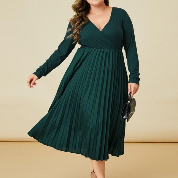 YOINS Plus Size Green Wrap Design Dress 2