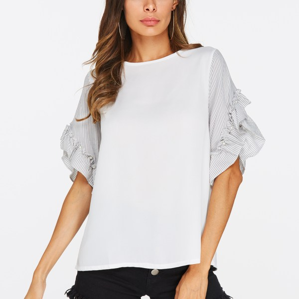 White Ruffle Trim Cuffs Round Neck T-shirts 2