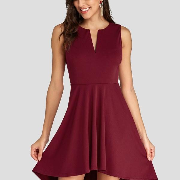 Burgundy V Neck High-Low Hem Pleated Sleeveless Dress 2