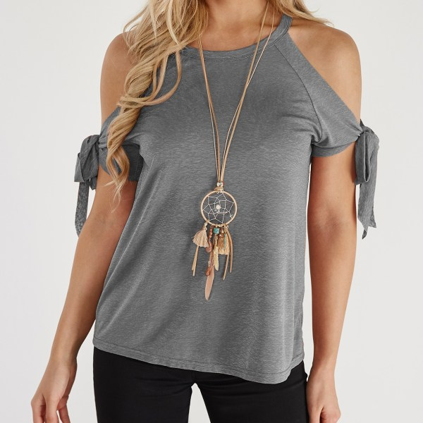 Grey Lace-up Design Crew Neck Short Sleeves T-shirts 2