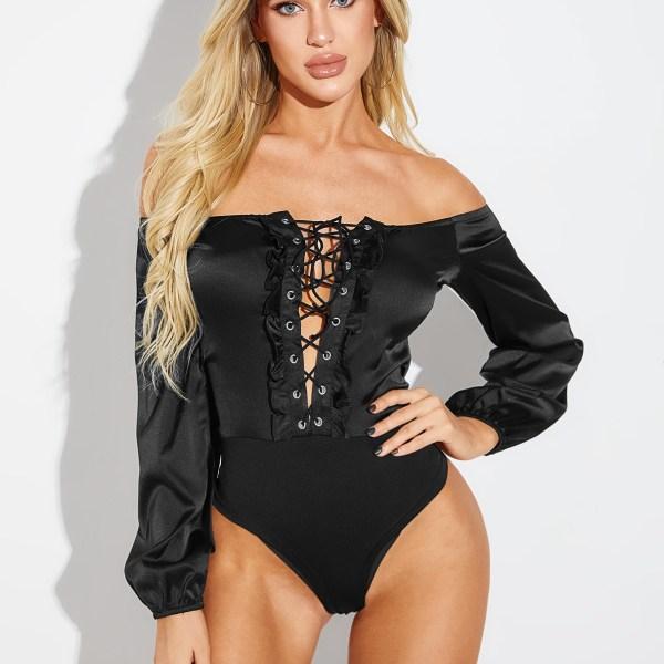 YOINS Black Lace Up Design Off The Shoulder Bodysuit 2