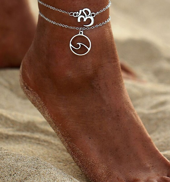 Silver Letter & Wave Pendant Double Layer Anklet 2
