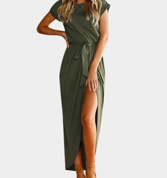 Army Green Plain Short Sleeves Slit Hem Maxi Dress 2