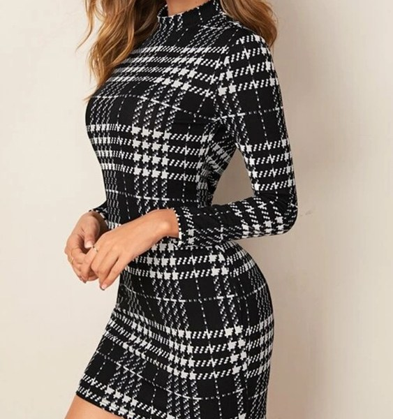 Black Houndstooth High Neck Long Sleeves Bodycon Dress 1