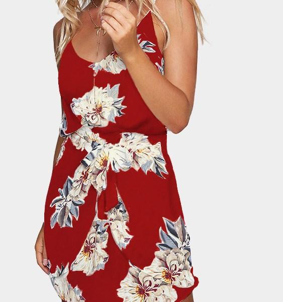 Random Floral Print Stretch Waist Sleeveless Strappy Dress in Red 2