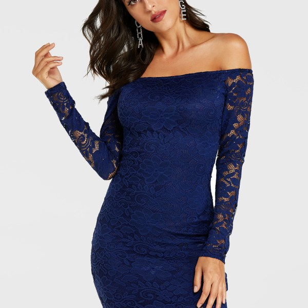 YOINS Navy Lace Off The Shoulder Long Sleeves Mini Dress 2