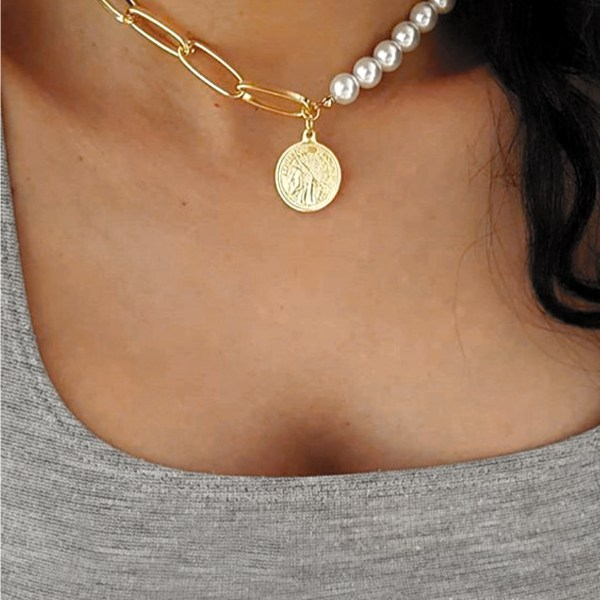 Gold Color Pearls Coin Necklace 2