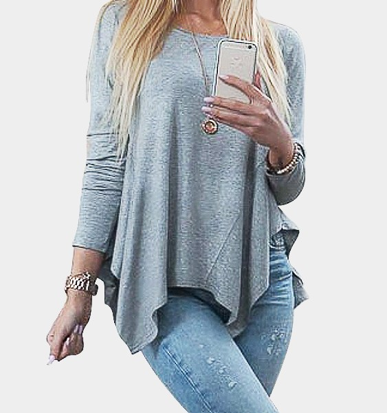 Grey Pleated Asymmetrical Bottoming Blouse 2