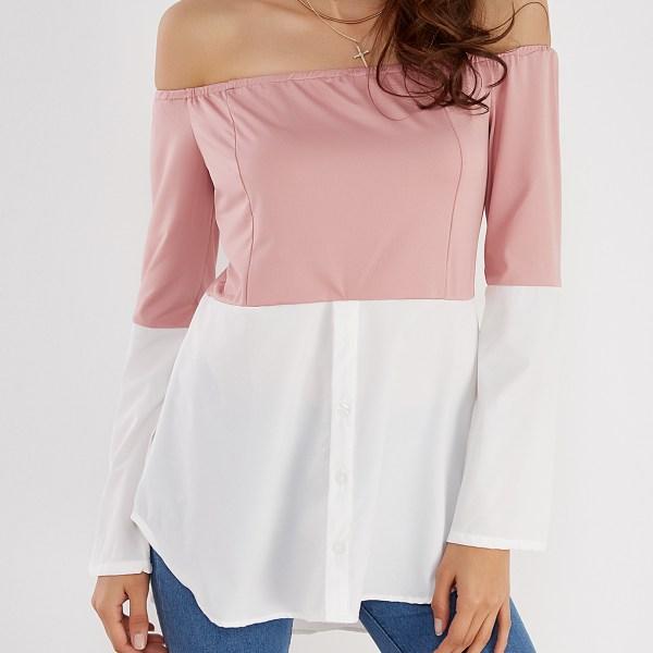 Pink & White Off Shoulder Long Sleeves T-shirt 2