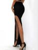 Black Slit Design High-Waisted Skirt 3
