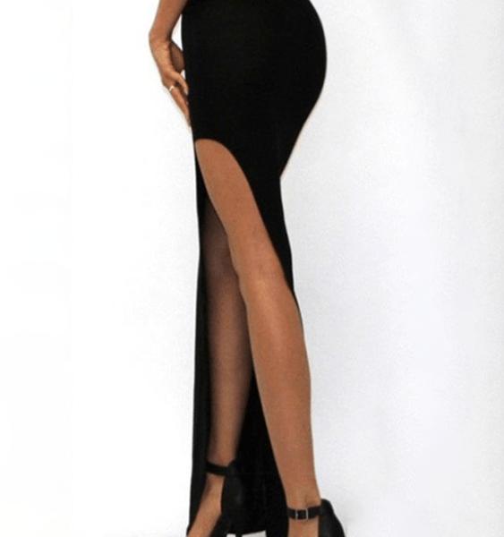 Black Slit Design High-Waisted Skirt 2