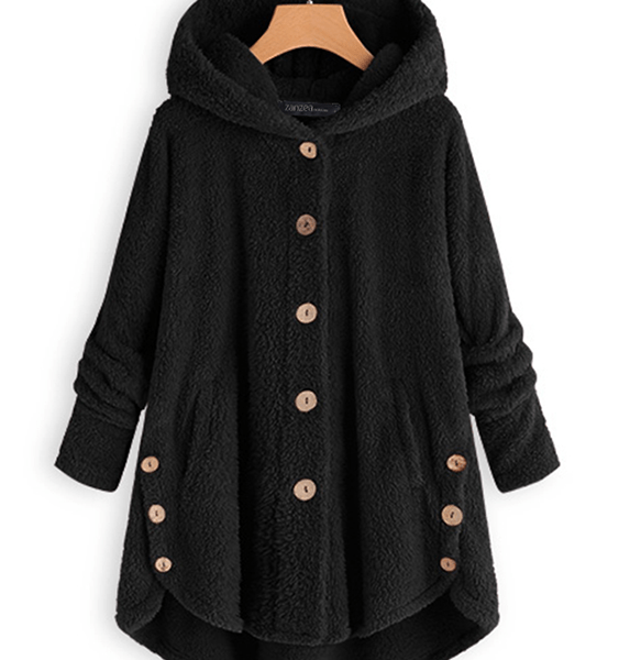 Plush Button Design Long Sleeves Teddy Coat 2