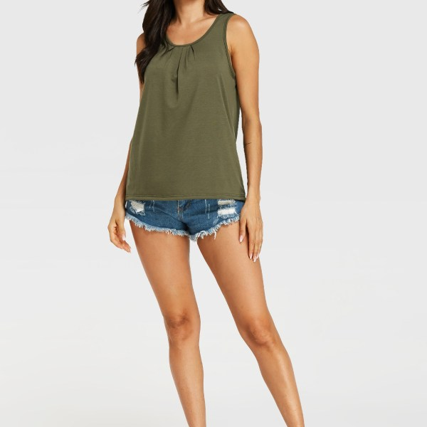 Army Green Pleated Round Neck Tank Top 2