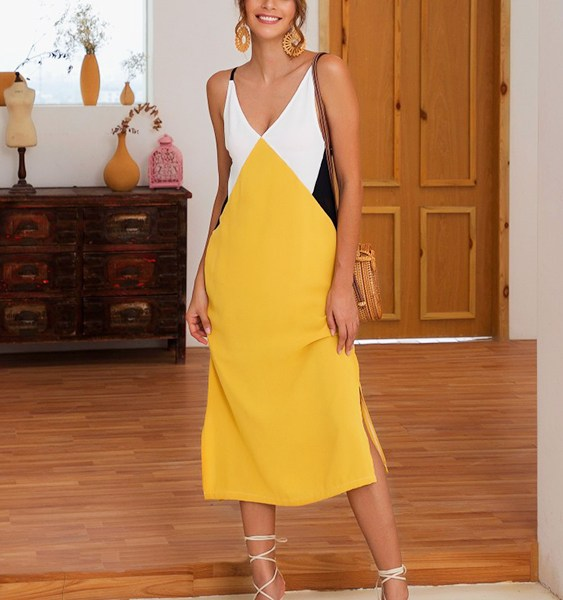 Color Block Spaghetti Strap V-neck Sleeveless Dress 2