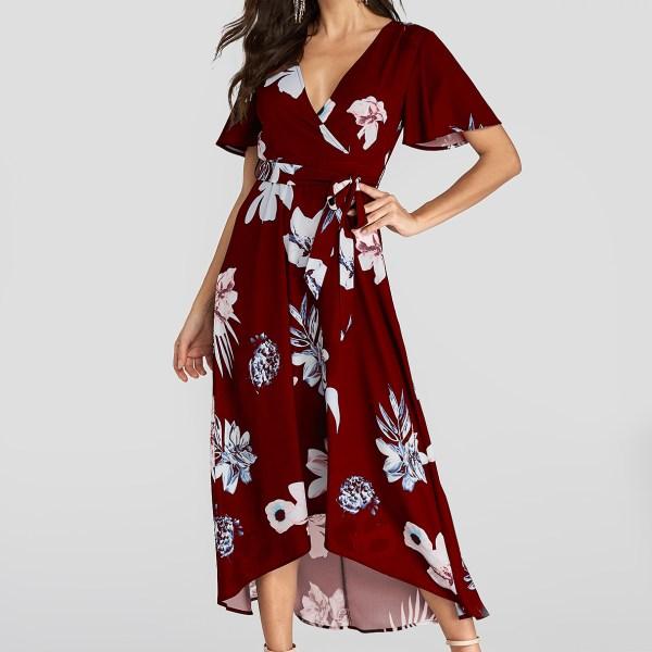 YOINS Burgundy Random Floral Print Belt Design V-neck Short Sleeves Dress 2