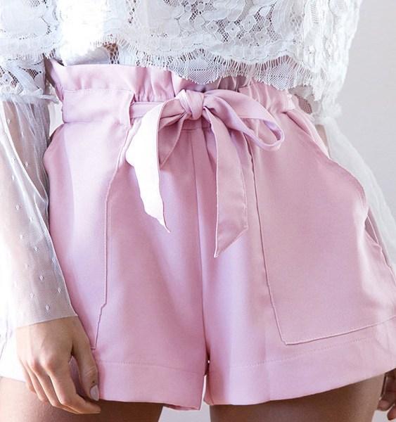 Sweet High-rise Sash-tie Waist Shorts in Pink 2