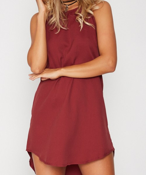 Red Irregular Hem Mini Dress 2