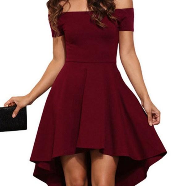 Burgundy Sexy Off Shoulder Irregular Hem Dress 2
