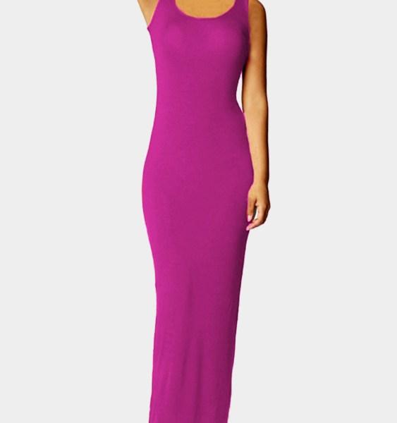 Dark VoiletScoop Neck Sleeveless Maxi Dress 2