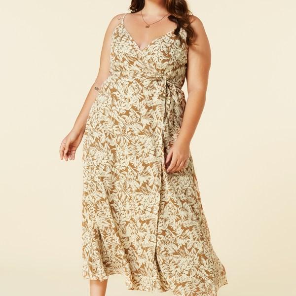 YOINS Plus Size Yellow Random Floral Wrap Dress 2