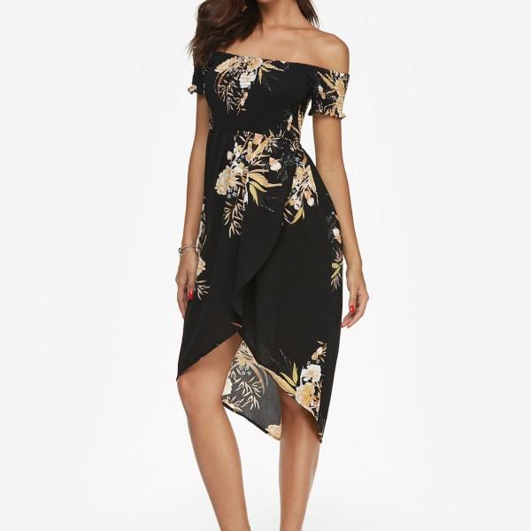 Black Random Floral Print Off Shoulder Midi Dress 2