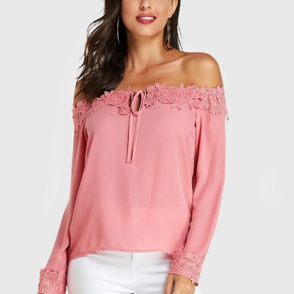 YOINS Pink Crochet Lace Embellished Off Shoulder Blouse 2