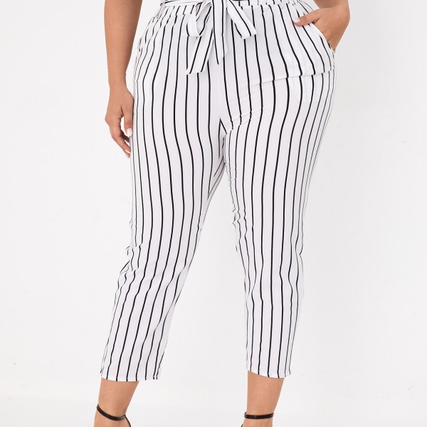Plus Size White Belt Design Striped Pants 1