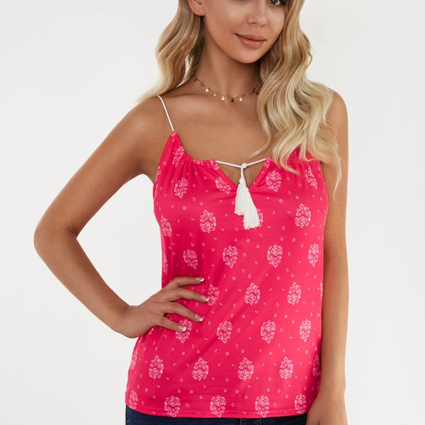 Red Floral Print Lace-up Design Drawstring Round Neck Camis 2