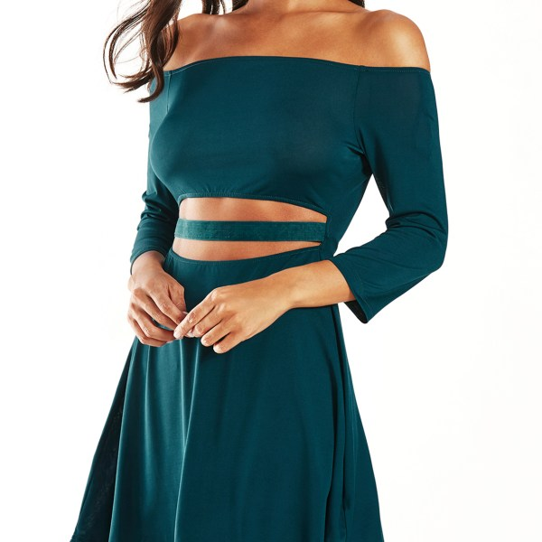 YOINS Green Off Shoulder Cut Out Pleated Dress 2