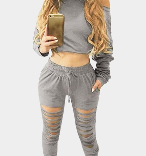 Grey Two Piece Outfits with Cut Out Details 2