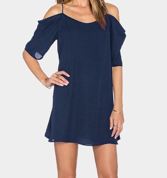 Navy Cold Shoulder Mini Dress 2