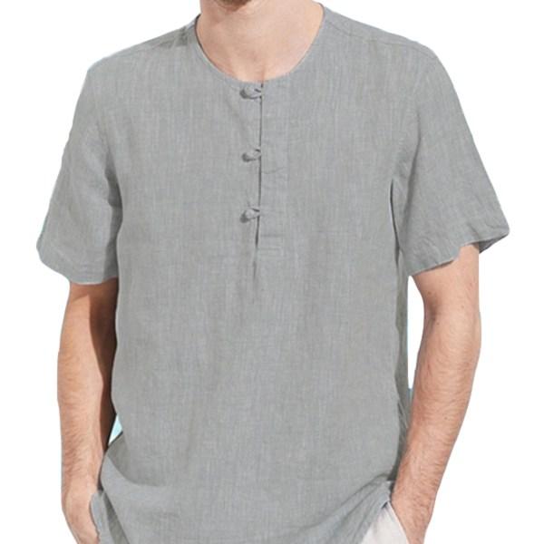 Men Summer Chinese Style Linen Button Up Short Sleeve T-Shirt 2