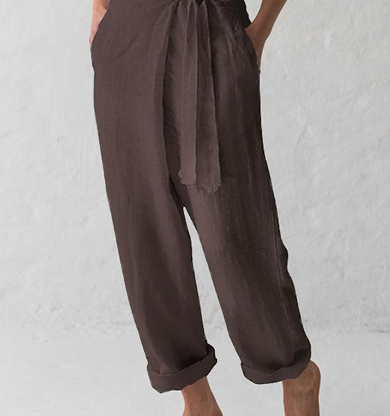 Celmia Coffee Self-tie Design Side Pockets Pants 2