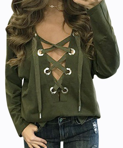 Lace-up Front Design Casual Top in Green 2