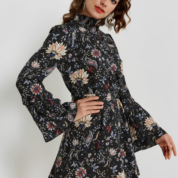 Black Random Floral Print High Neck Long Sleeves Mini Dress 2