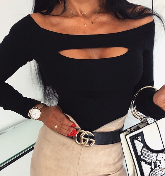 Black Cut Out Off The Shoulder Long Sleeves Bodycon Tee 2