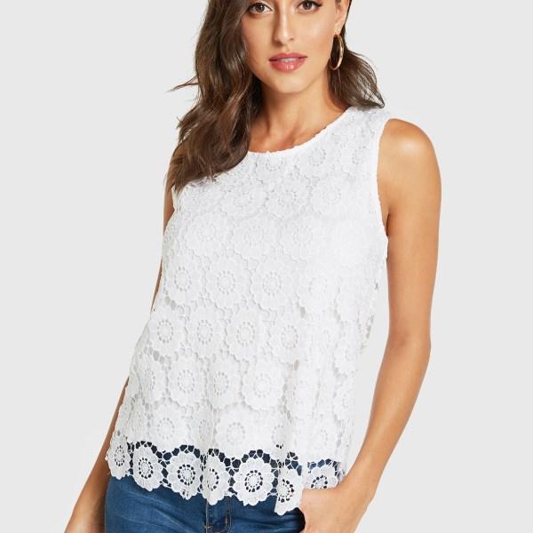 YOINS White Lace Round Neck Sleeveless Top 2