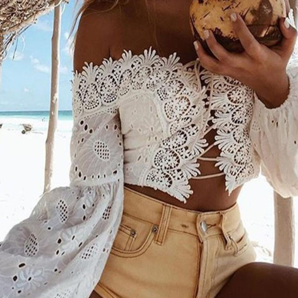 White Crochet Lace Embellished Off The Shoulder Long Sleeves Tee 2