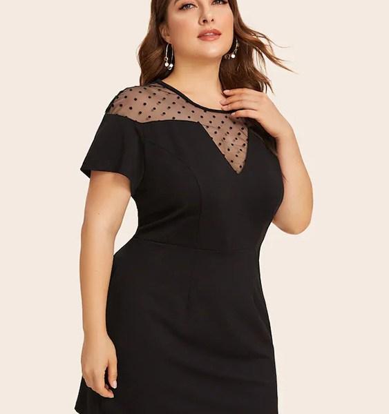 Plus Size Black Patch Polka Dot Mesh Dress 2