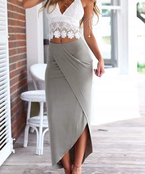 Sexy Lace Crop Top & Slit Skirt Two Piece Outfits 2