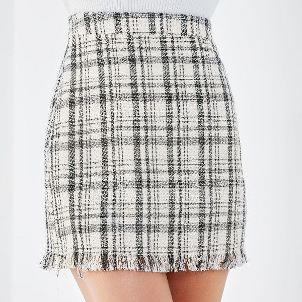 YOINS White Check Tassel Details Bodycon Skirt 2